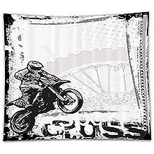 Beshowereb Fleece Throw Blanket Motorcycle Decor Set Motocross Racer Image on Grungy Background Poster Style Monochromic Artwork Print