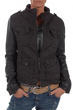 9921aa3a Tigha women leather jacket Chloe Twill, M, black: Amazon.co.uk: Clothing