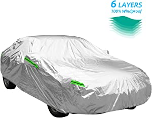WOKOKO Car Cover Outdoor Sedan, 6 Layers Universal Car Cover All Weather Windproof Snow-Proof Dust-Proof Scratch Resistant UV Protection Full Car Cover Fit for Sedan L(167''-191'')