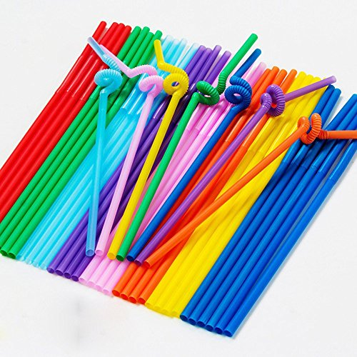 Clearance Sale!UMFun 50Pcs Multi-Shaped Pegeant Plastic Drinking Straws Wedding Birthday Party from UMFun_ Kitchen,Dining & Bar
