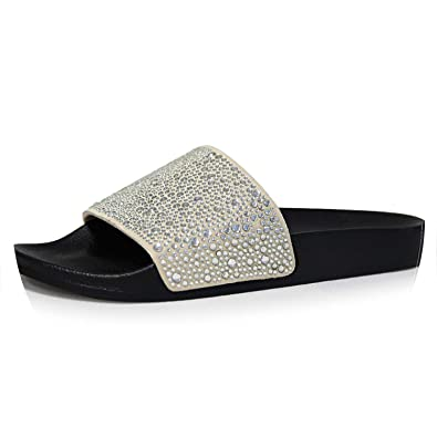 46b81bd2a Image Unavailable. Image not available for. Color  Hot Summer Women Diamond  Slippers PU Bling Rhinestone Slides Flat ...