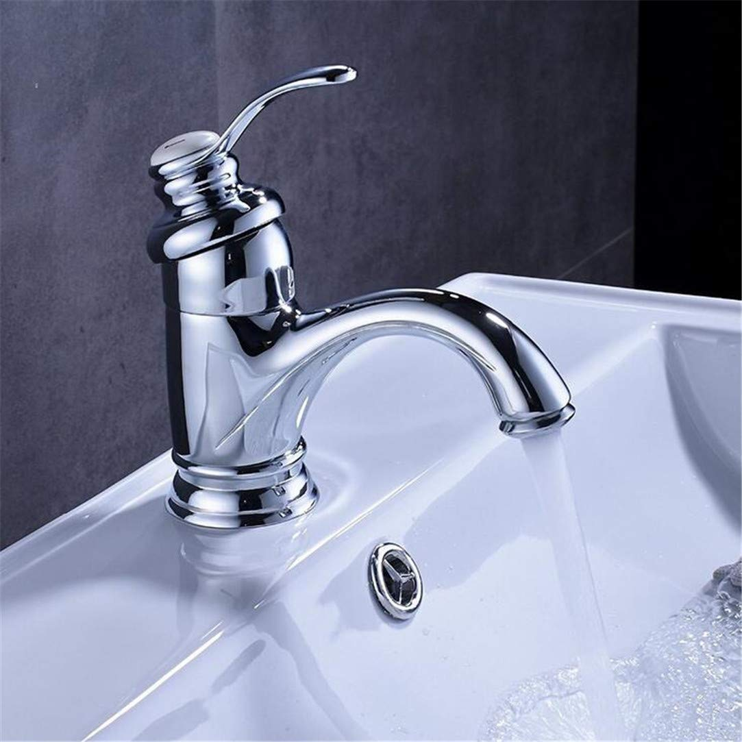 Faucet Washbasin Mixer  Deck Mount Brass Basin Sink Faucet Short Bathroom Vanity Sink Mixer Taps Hot and Cold Water Single Handle