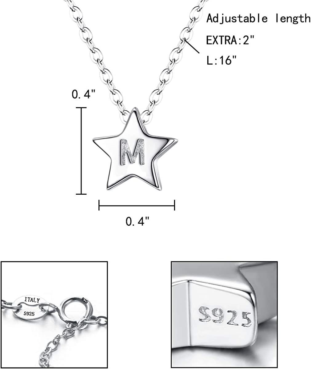 Clearine 925 Sterling Silver Tiny Dainty Pendant Pentagram Star Initial Necklace With Love Heart Back