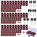 AUSTOR 192 Pieces Sanding Drum Kit with Free Box Including 180 Pieces Drum Sander Nail Sanding Band Sleeves and 12 Pieces Drum Mandrels for Dremel Rotary Tool