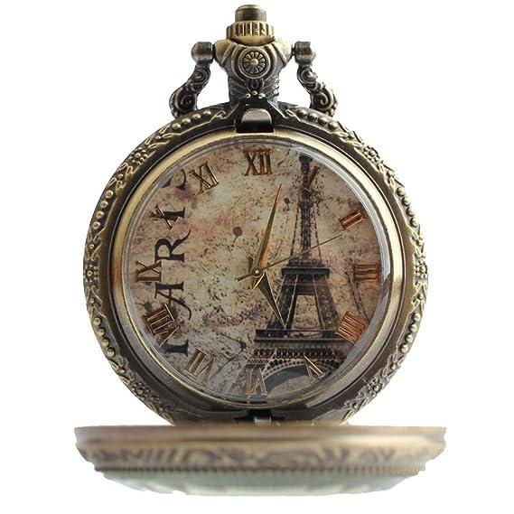 Lekima - Reloj de bolsillo colgante con collar, diseño vintage romántico, números romanos, cuarzo, fantasía para regalo, unisex: Amazon.es: Relojes