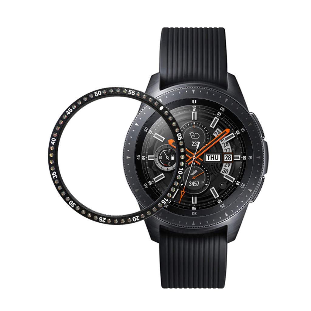 for Samsung Galaxy Watch 46MM, Crystal Diamond Stainless Steel Bezel Ring Adhesive Cover Anti Scratch Metal Bezel Styling (Black)