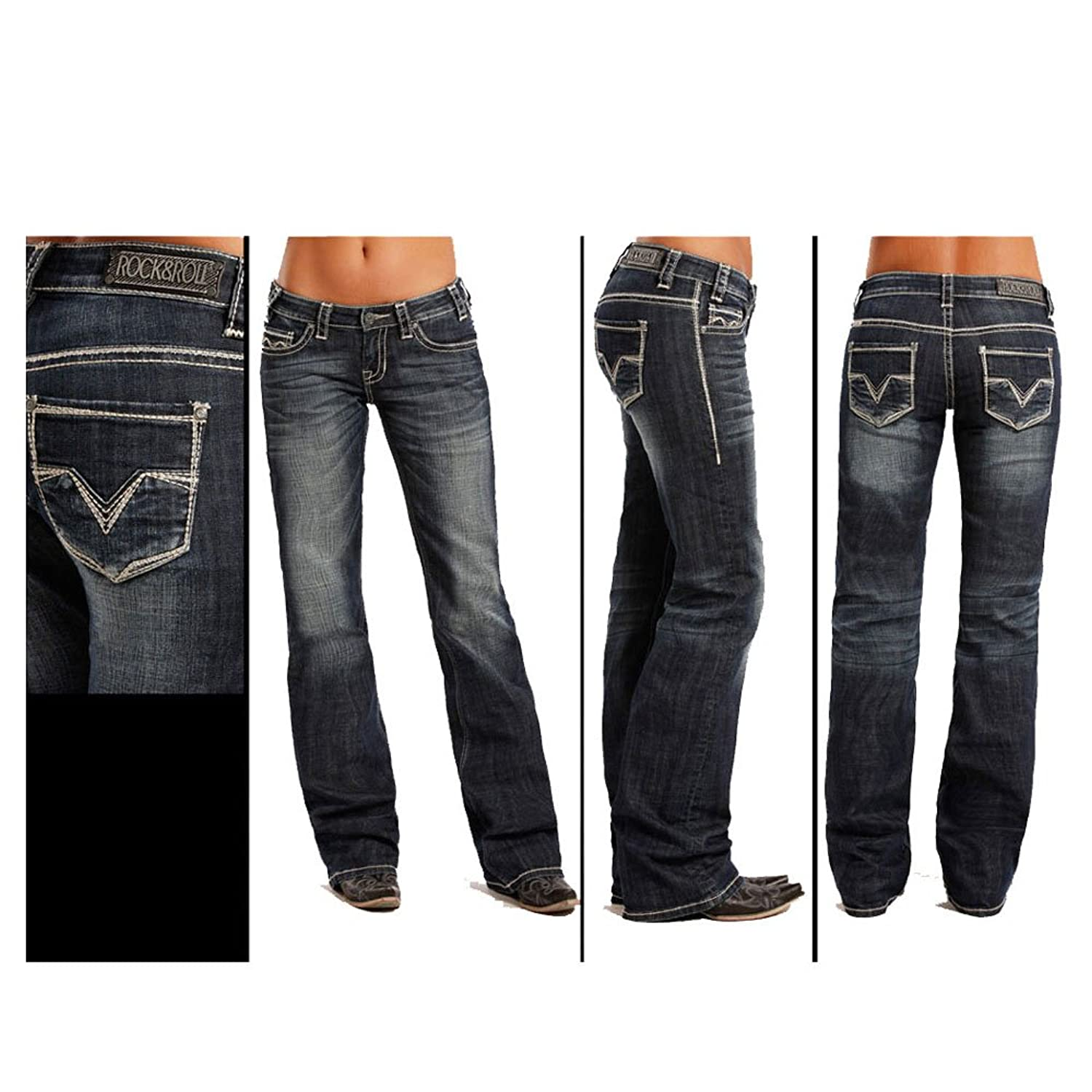 W7-8484 Rock & Roll Cowgirl Juniors Riding Boot Cut Jeans Embroidery 24x36