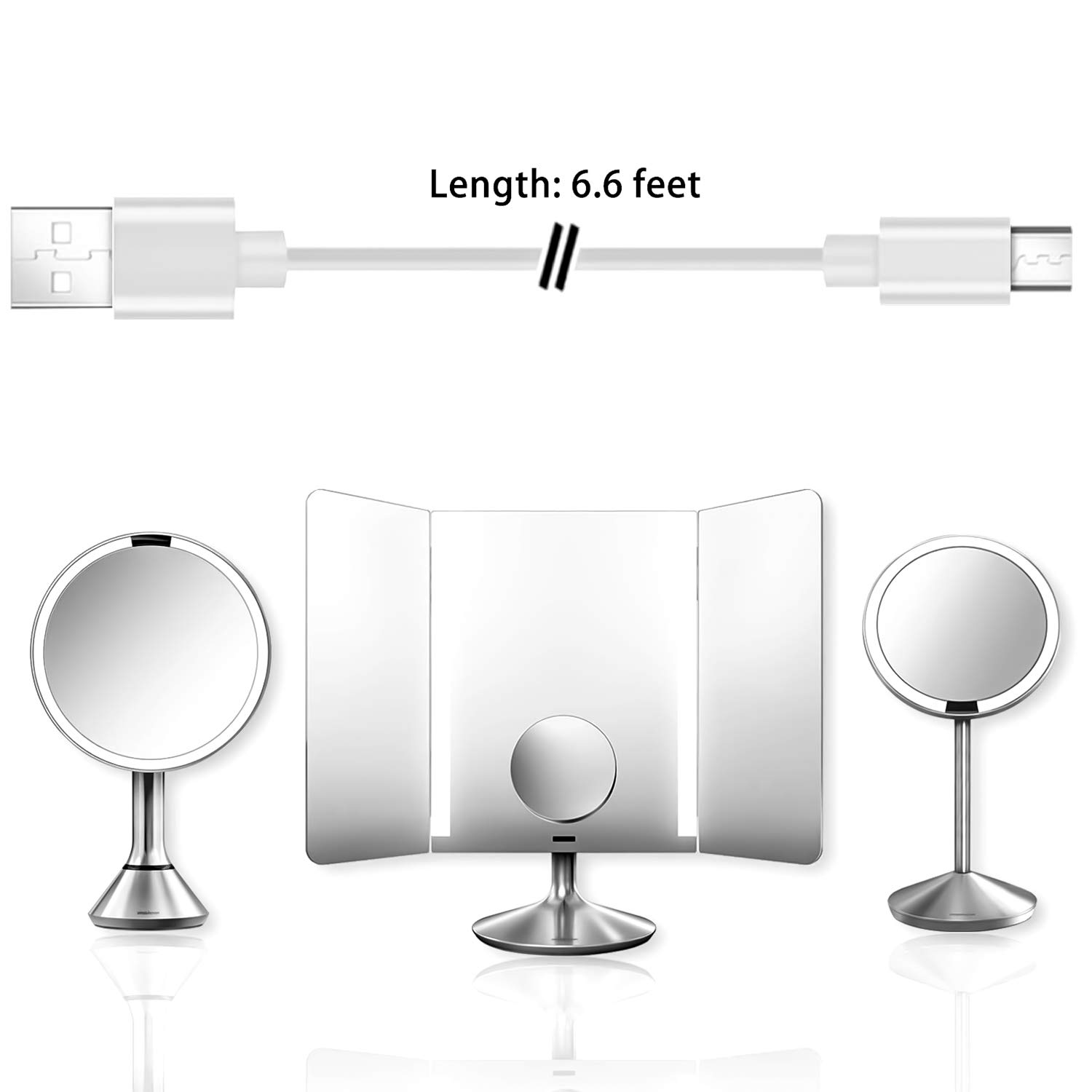 6.6FT High Speed Charger Cable Cord Compatible for Simplehuman 5 inch /& 8inch Sensor Mirror Lighted Makeup Mirror//Simple Human Mirror Micro USB Cable