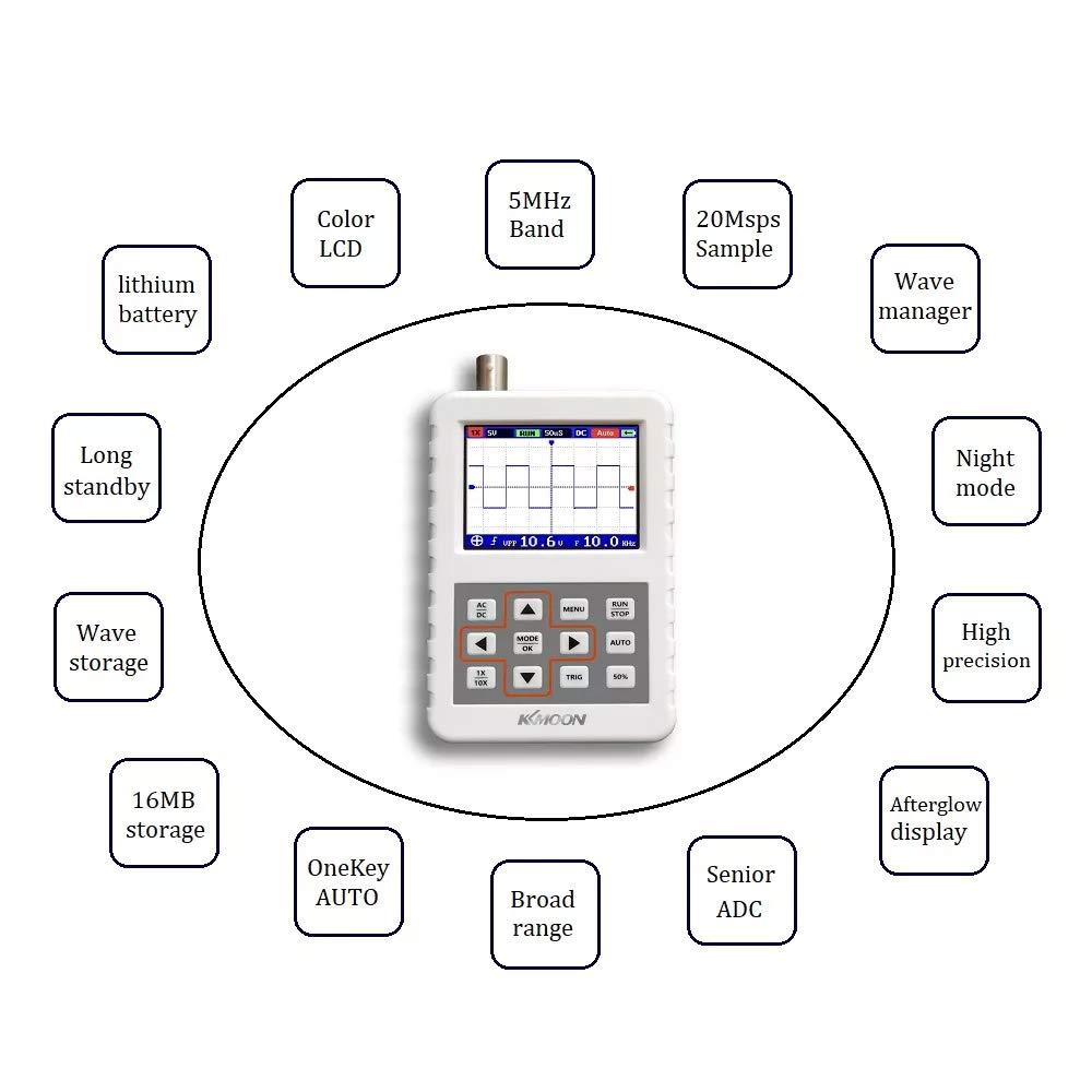 KKmoon DSO PRO Digital Oscilloscope Handheld Oscilloscope Mini Palm Size Oscilloscope with 5M Bandwidth 20MS//s Sampling Rate