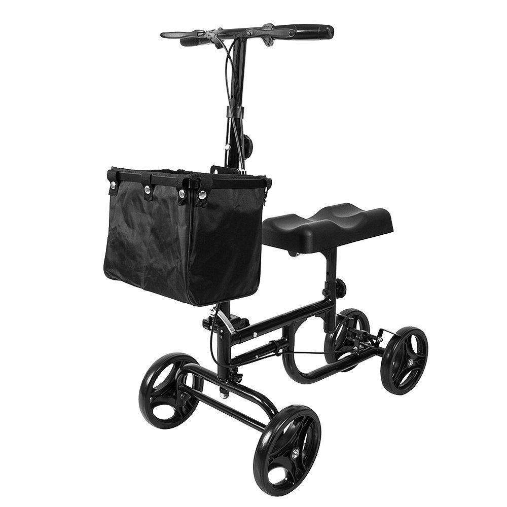 ELENKER Health Port Knee Walker Medical Scooter Folding Leg Scooter Duty Crutches Alternative Black