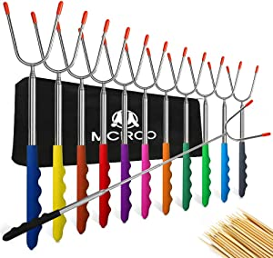 M MCIRCO Marshmallow Roasting Sticks,Set of 12 Pack 45'' Telescoping Smores Skewers Hot Dog Extending Stainless Steel Forks for Camping, Campfire, Bonfire Kids, Multicolor,Include 20 Bamboo Skewers