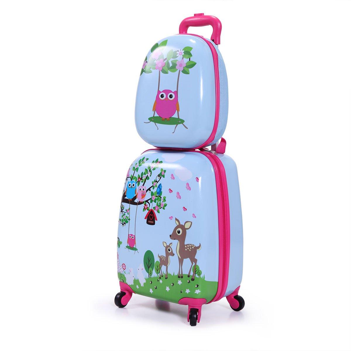 JAXPETY Kids Carry On Luggage Set 2Pc 12'' 16''Upright Hard Side Hard Shell Suitcase (Style-1)