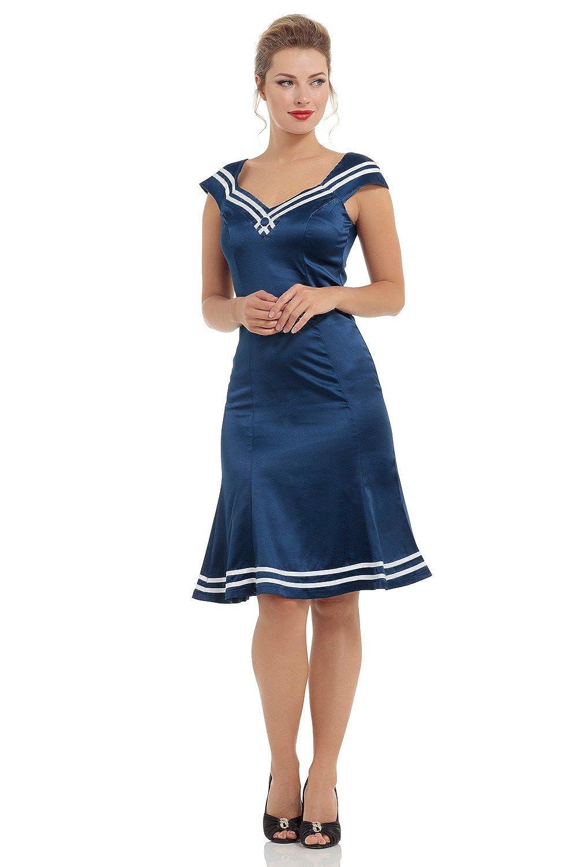 Rockabilly Dresses | Rockabilly Clothing | Viva Las Vegas Voodoo Vixen - Stunning New Nod-to-Nautical Isla Dress $66.53 AT vintagedancer.com