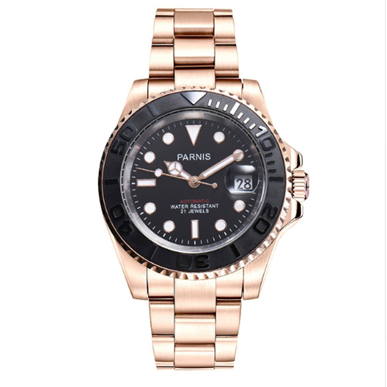 Parnis 41 mmサファイアクリスタル21 Jewels Miyota Automatic Movementメンズ腕時計セラミックベゼル50 M防水 ブラック1 B07DNSYJ5P  ブラック1