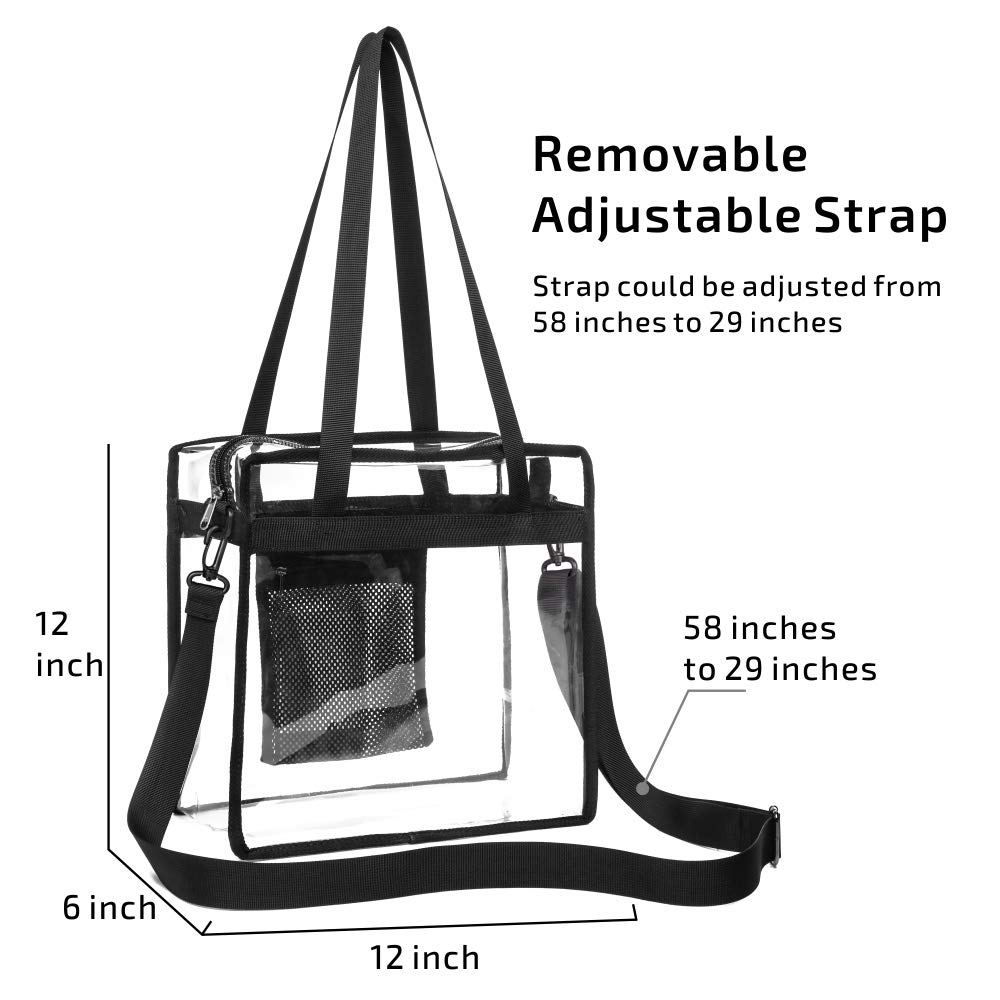 d344cce518a7 Veckle Clear Bag, Clear Tote Bag NFL Stadium Approved Transparent ...