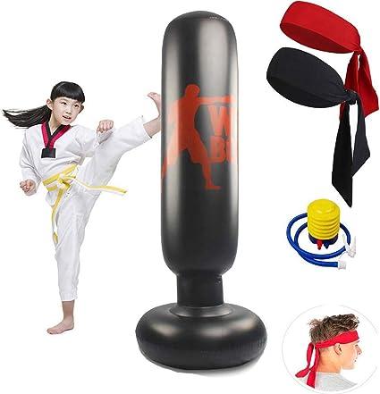 160cm Punch Bag Inflatable Boxing Column Tumbler Sandbags Kick Martial Training