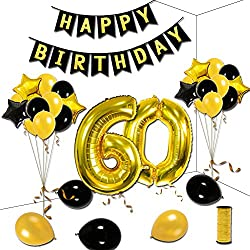 60th Birthday Theme Party Decorations Kit Happy Birthday Gold Star Black Balloons Happy Birthday Banner Number 60 Big Foil Balloons Golden Ribbon
