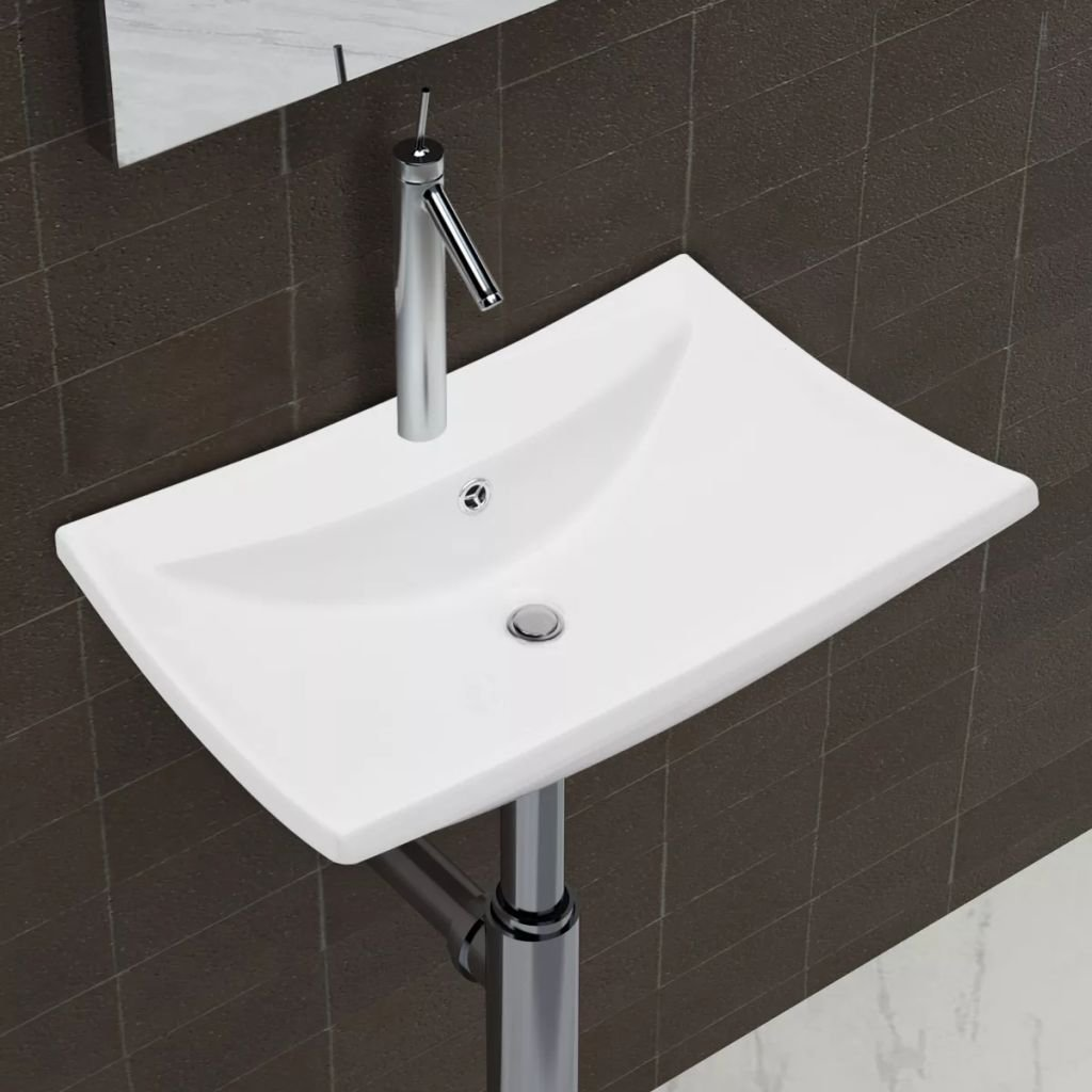 Luxury Ceramic Basin Rectangular Bathroom Sinks with Overflow and Faucet Wash Basin Practical Vessel for Everyday Use by Chloe Rossetti