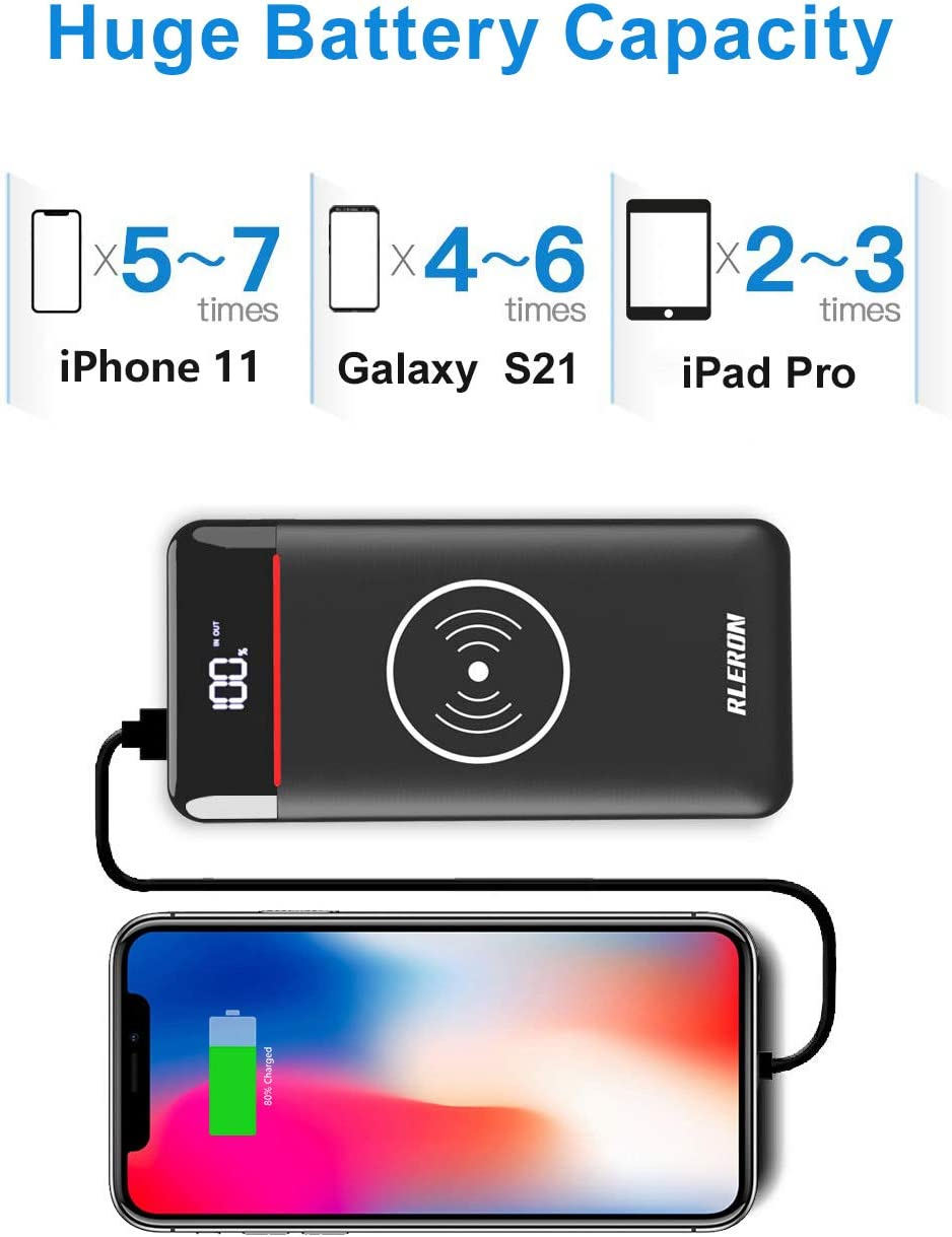 Wireless Portable Charger 25000mAh Power Bank with 3 Outputs& 2 Red Black
