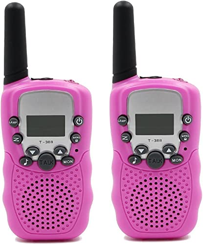 Topways Kids Walkie Talkie Two Ways Radio Toy Walkie Talkie for Kids 2 Miles Range 3 Channels Built in Flash Light FRS GMRS Handheld Mini Walkie Talkie for Outdoor Adventures Camping Hiking Pink
