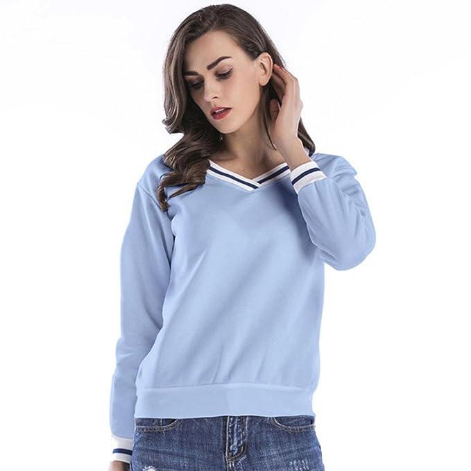 Internet Moda mujer a rayas con escote en V escote Tops Blusa Sudadera (Azul,