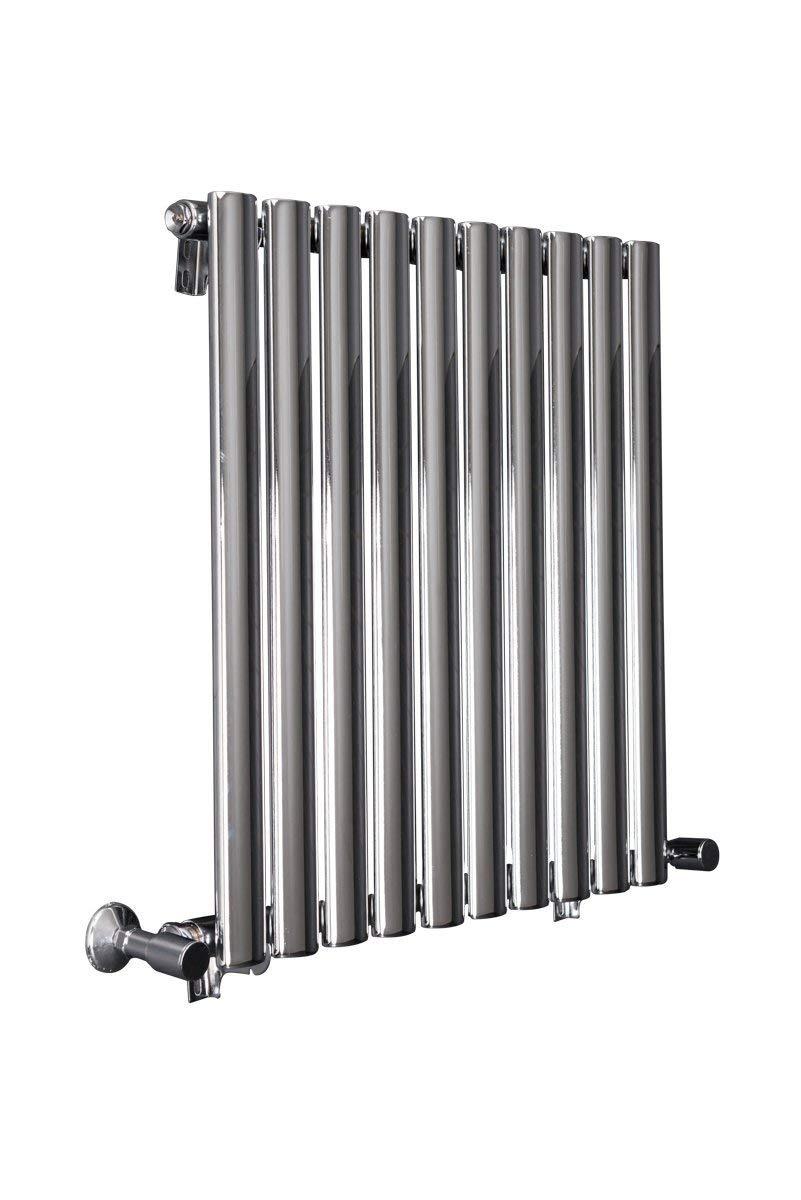 Horizontal Designer Radiator Column Chrome Single Oval Flat Panel - 600 x 600 mm - Modern Central Heating Space Saving Radiators - Perfect for Bathrooms, Kitchen, Hallway, Living Room WarmeHaus
