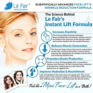 Instant Lifting Formula - Le Fair Anti-Aging Face Cream - Eliminates Fine Lines, Puffiness, Dark Circles & Bags - Wrinkle Serum with Peptides, Vitamin C & Skin Nourishing Botanicals - Face Lift