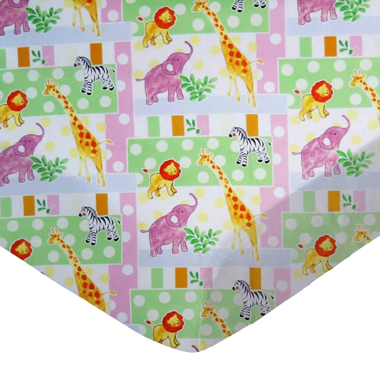 SheetWorld Fitted 100% Cotton Percale Bassinet Sheet 15 x 33, Elephants & Giraffes, Made in USA SHEETWORLD.COM CB-W1112