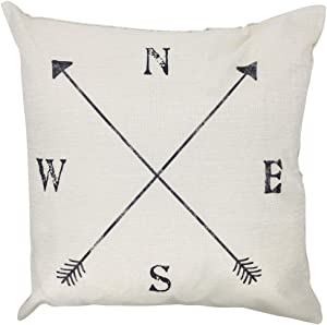 Arundeal Decorative Throw Pillow Case Cushion Cover, 18 x 18 Inches, Rustic Farmhouse Compass Arrows, for Sofa Couch Bed Decor
