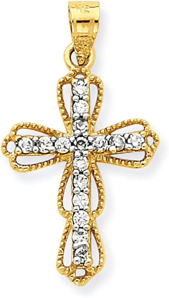10K Two-Tone Gold Latin Cross Charm Pendant
