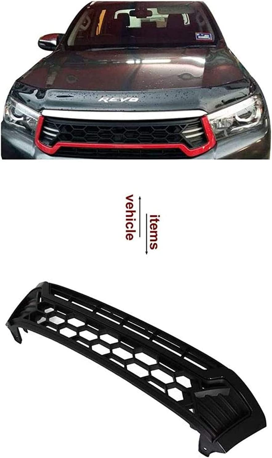 Red ACYCY Sport Grille For Toyot-A Hilux Revo 2016-2017 Part 2018 2019 2020 Led Raptor Grille Black With Led