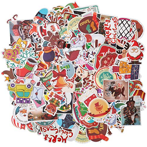 - HOMIMP 135 Pcs Stickers Pack Christmas Designs - Vinyl Decals DIY Decorations or Gifts - for Laptop Skateboard Car Luggage Motorcycle Bicycle Graffiti Computer Keyboard