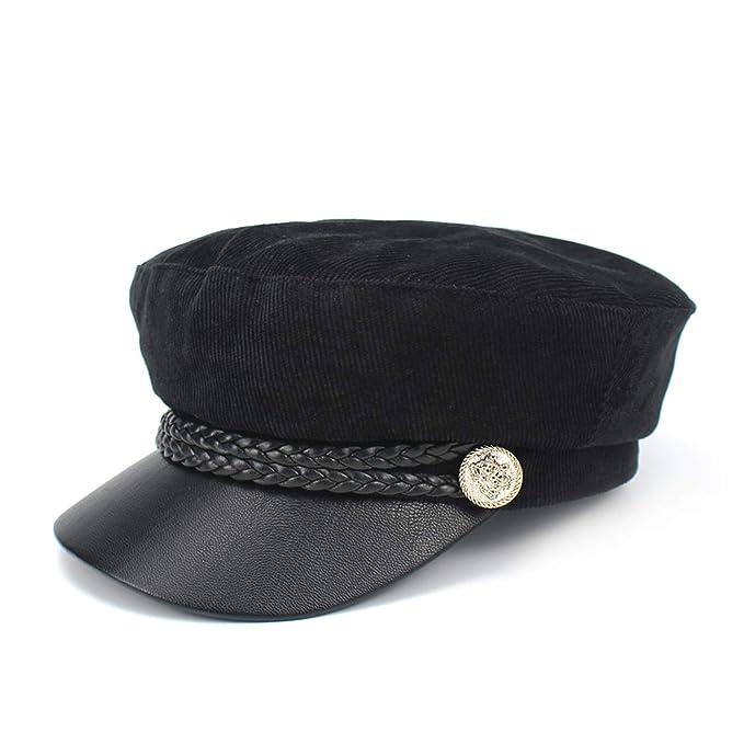 86ada07d776 Spring Autumn Newsboy Hats Women Lace Belt Button Military Cap Black ...