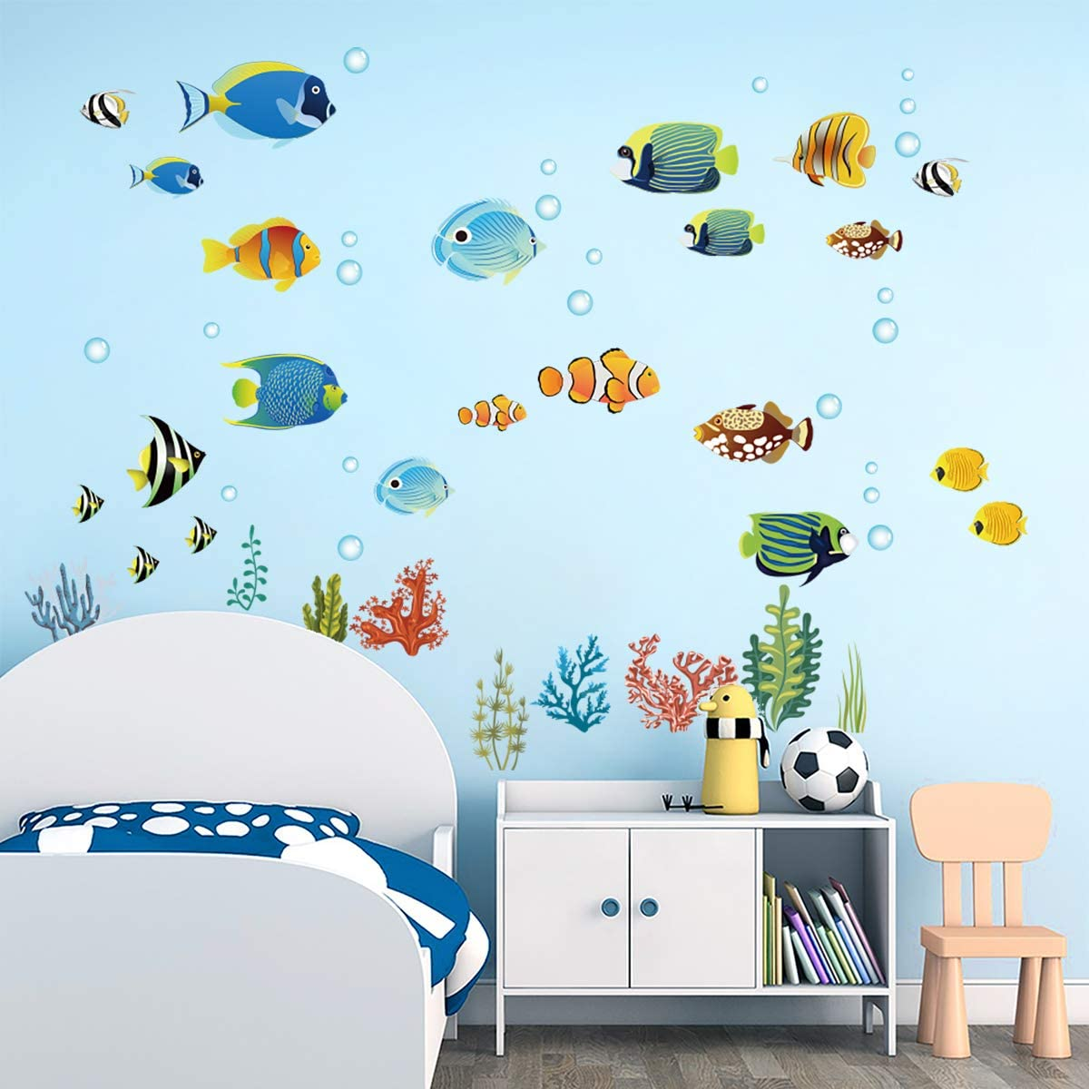 Decalmile Tropical Fish Wall Decals Under The Sea Wall Stickers Baby Nursery Kids Bedroom Bathroom Wall Decor Wall Stickers