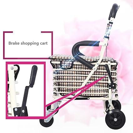 MEYLEE Carrito de compras plegable con silla, 4 Wheel Walker para ancianos