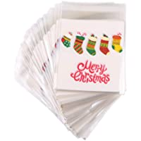 CCINEE 100PCS Christmas Self Adhesive Candy Cookie Bags Clear Cellophane Bags