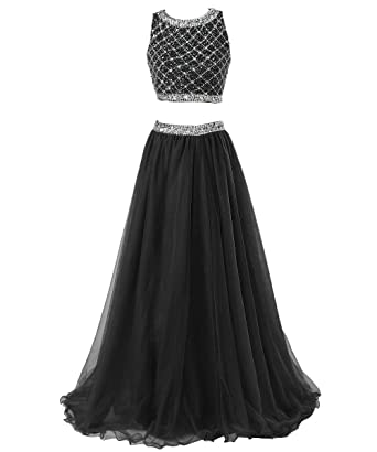 Callmelady Two Piece Long Prom Dresses For Women With Sleeveless Sequined Top (Black, US2