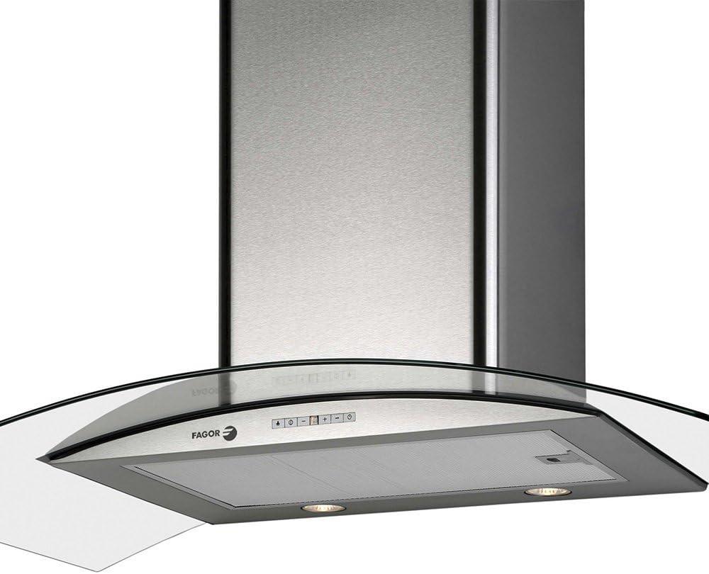 Fagor 9CFV92XA - Campana decorativa 90cm inoxidable vidrio clase de eficiencia energetic: Amazon.es: Hogar