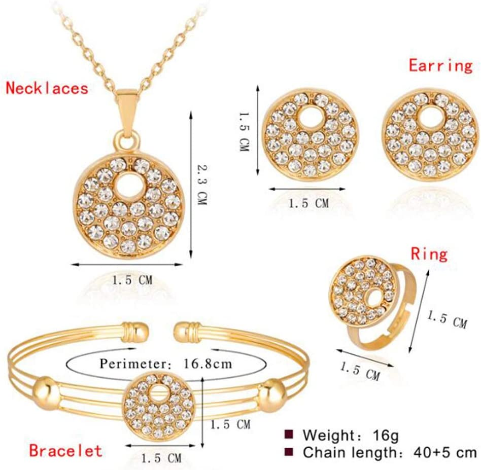MYYQ Women Necklace Pendant,Jewelry Set Round Alloy Diamond Plating Necklace Earring Bracelet Ring Set of 4 Perimeter 45cm