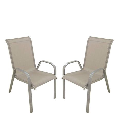 Edenjardi Pack 2 sillones de jardín apilable, Tamaño ...