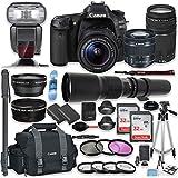 Canon EOS 80D DSLR Camera with 18-55mm Lens, 75-300mm Lens & 500mm Preset Lens + Premium Accessory Bundle including Canon 300DG Case, TTL Speed Light Flash, 64GB Memory, Monopod, Aux Lenses & More