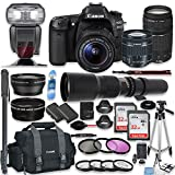 Canon EOS 80D DSLR Camera with 18-55mm Lens, 75-300mm Lens & 500mm Preset Lens + Premium Accessory Bundle Including Canon 300DG Case, TTL Speed Light Flash, 64GB Memory, Monopod, Aux Lenses & More