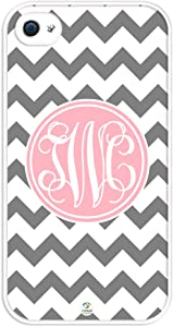 iZERCASE Monogram Personalized Grey and White Chevron Pattern with Cursive Initials Rubber iPhone 4 case - Fits iPhone 4 & iPhone 4s T-Mobile, Verizon, AT&T, Sprint and International (White)