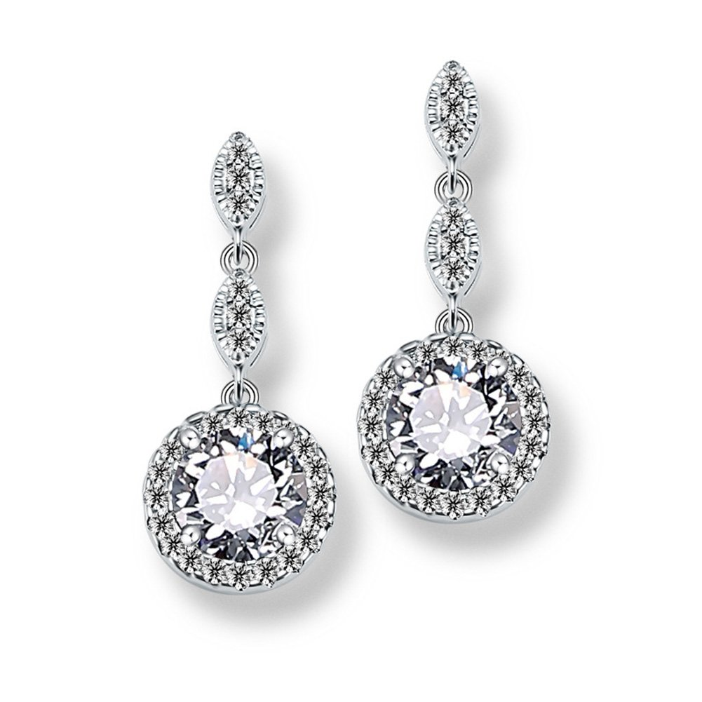 UDORA Elegant A+ Cubic Zirconia Round Drop Earrings Gifts Fit Prom,Wedding Dress,Bridal,Bridesmaid (White Gold)