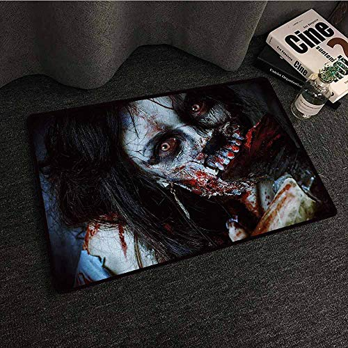 DILITECK Door mat Customization Zombie Scary Dead Woman with a Bloody Axe Evil Fantasy Gothic Mystery Halloween Picture Non-Slip Door mat pad Machine can be Washed W31 xL47 Multicolor