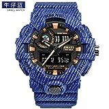 SMAEL 8001 Cowboy Streak Simple Design Digital Sports Watch Analog Quartz with Waterproof Resin Straps Unisex Wristwatch (Blue)
