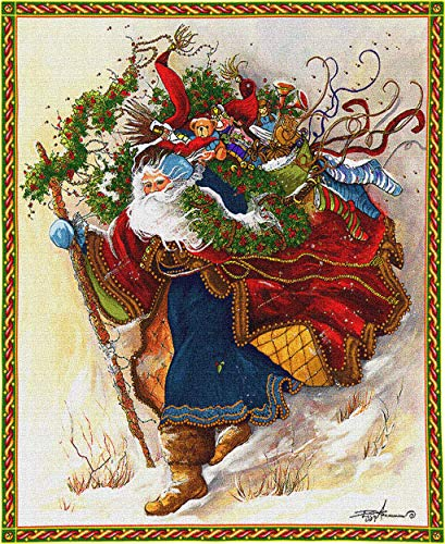 Pure Country Weavers Windswept Santa   Woven Tapestry Wall Art Hanging   Colorful Festive Christmas Theme   100% Cotton USA Size 34x26