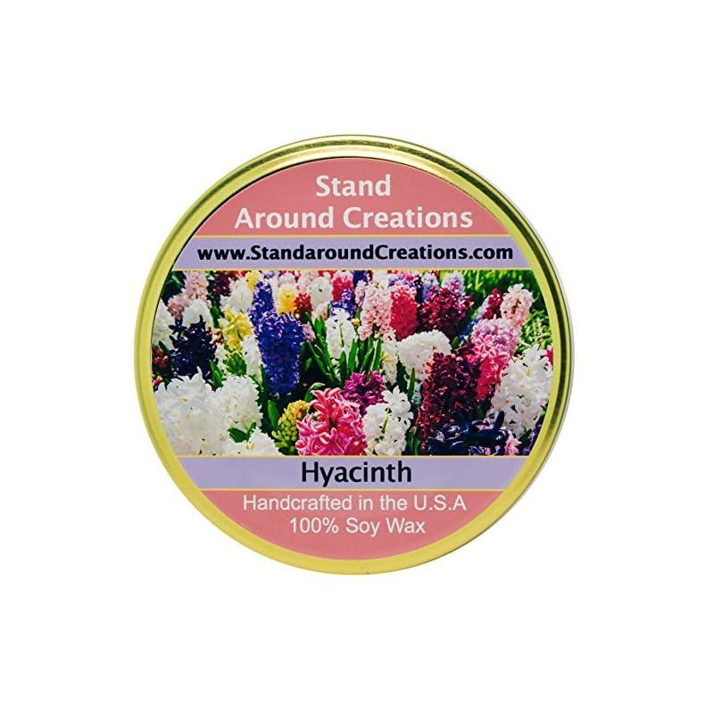 silk flower arrangements premium 100% soy tureen candle - 11 oz. - hyacinth - lovely notes include lavandin, jasmine, lavender, rose, myrrh.