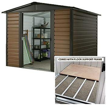 Cobertizo (madera, Yardmaster 10 x 6 Apex Metal cobertizo con marco de acero suelo: Amazon.es: Jardín