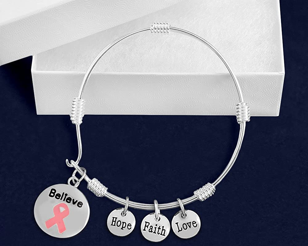 Fundraising For A Cause Pink Ribbon Believe Bangle Bracelet in a Gift Box 1 Bracelet - Retail
